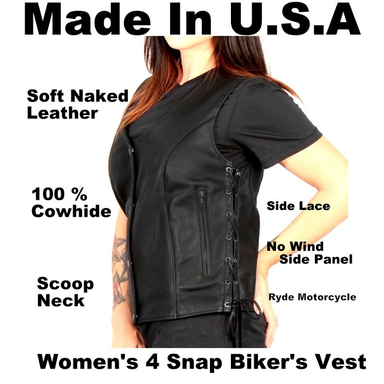 a4d7c923e980 Women s Made In USA - 4 Snap - Side lace Vest